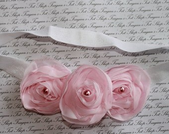Pink Chiffon Baby Flower Headband, Newborn Headband, Baby Girl Flower Headband, Photography Prop