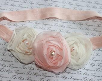 Peach and Ivory Chiffon Baby Flower Headband, Newborn Headband, Baby Girl Flower Headband, Photography Prop