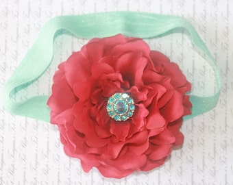 Aqua and Red Silk Baby Flower Headband, Newborn Headband, Baby Girl Flower Headband, Photography Prop