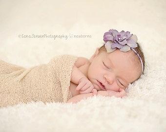Lavender Silk Baby Flower Headband, Newborn Headband, Baby Girl Flower Headband, Photography Prop