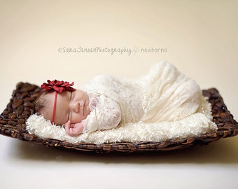 Red Silk Baby Flower Headband, Newborn Headband, Baby Girl Flower Headband, Photography Prop