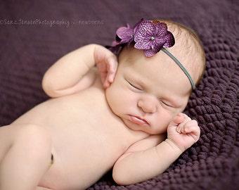 Purple Hydrangea Flower Headband, Newborn Headband, Baby Girl Flower Headband, Photography Prop