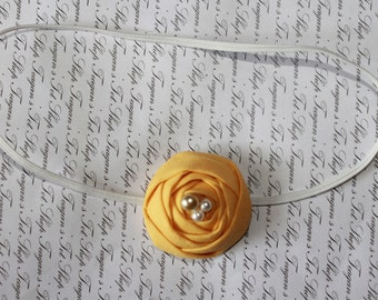 Petite Yellow Rosette and White Baby Flower Headband, Newborn Headband. Baby Girl Flower Headband, Photography Prop
