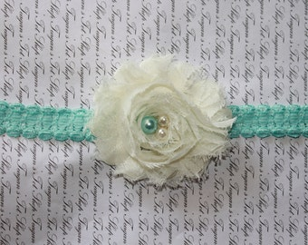 Vintage Aqua Lace Baby Flower Headband, Newborn Headband, Baby Girl Flower Headband, Photography Prop