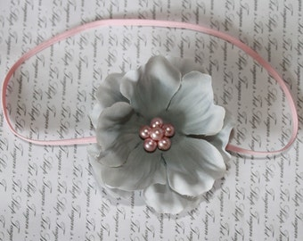 Gray and Pink Silk Baby Flower Headband, Newborn Headband, Baby Girl Flower Headband, Photography Prop