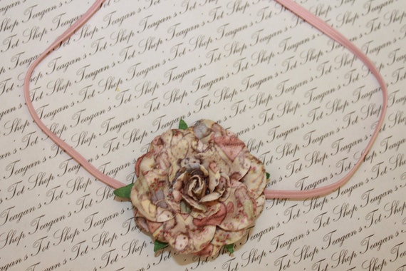 Pink and Beige Mulberry Paper Baby Flower Headband, Newborn Headband. Baby Girl Flower Headband, Photography Prop
