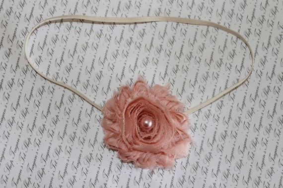 Vintage Pink Chiffon Shabby Chic Baby Flower Headband, Newborn Headband, Baby Girl Flower Headband, Photography Prop
