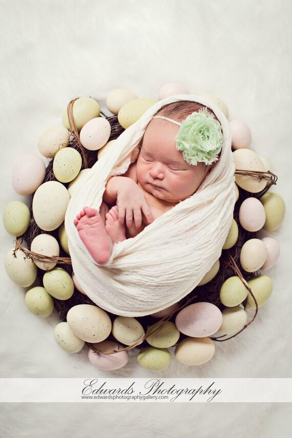 Celery Chiffon Baby Flower Headband, Newborn Headband, Baby Girl Flower Headband, Photography Prop