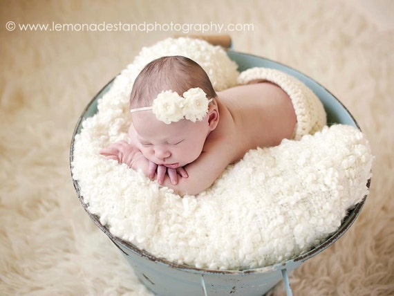 Petite Ivory Chiffon Baby Flower Headband, Newborn Headband, Baby Girl Flower Headband, Photography Prop