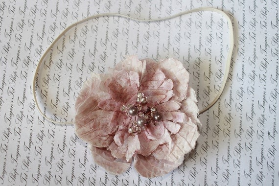 Vintage Lilac Desire Baby Flower Headband, Newborn Headband, Baby Girl Flower Headband, Photography Prop