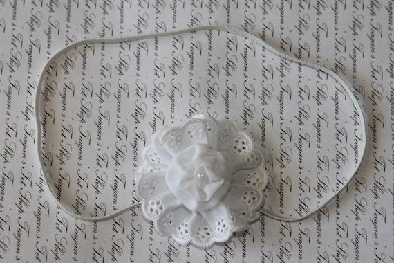 White Baby Flower Headband, Christening Headband, Newborn Heaband, Photography Prop
