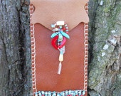 SALE Spirit Bag... Reading Glasses Native American Indian Coral Turquoise Bone Leather Beading