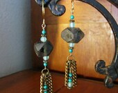 SALE Chain Fringe Beadwork Earrings... African Glass Beads