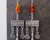 SALE  Amber and Silver Chandelier Earrings