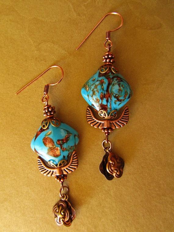 Copper Blue Dangle Earrings... Vintage glass Art Noveau Gypsy Boho Hippie