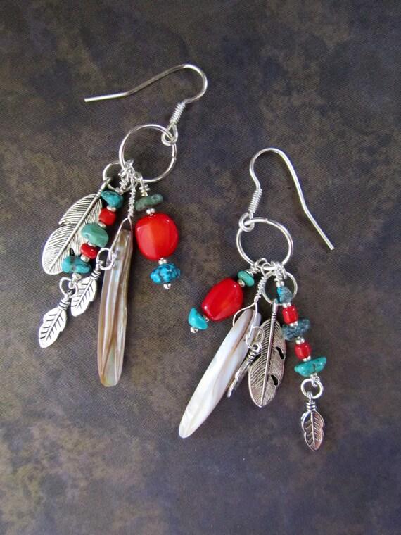South Western Beadwork Earrings... Tribal Native American Turquoise Coral Frida Hippie Boho Gypsy