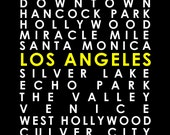 Los Angeles subway / neighborhood poster, customize your own