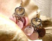 Pink Shell Bangle Earrings