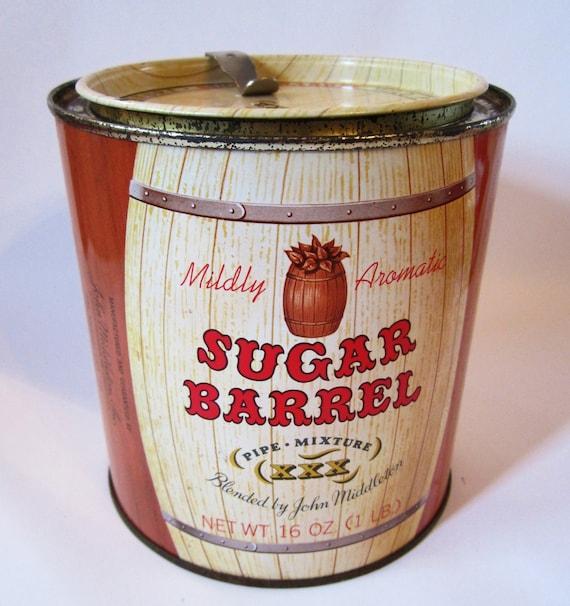 Large Round Vintage Sugar Barrel Tobacco Tin