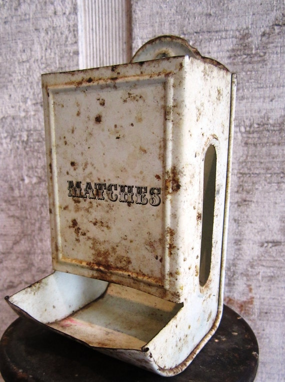 Vintage Tin Match Holder With Vintage Match box White, Chippy, Rusty, Shabby Chic