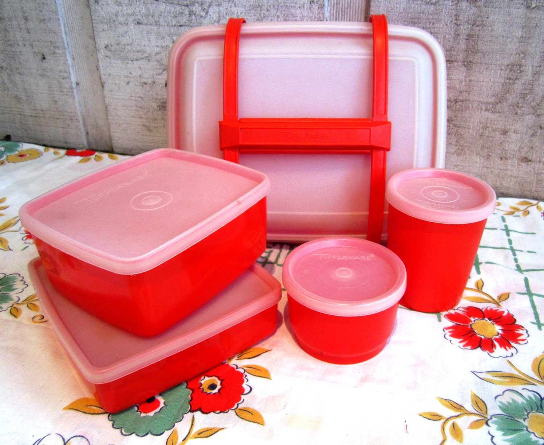 compelete 11 piece tupperware lunch box set red orange. Black Bedroom Furniture Sets. Home Design Ideas