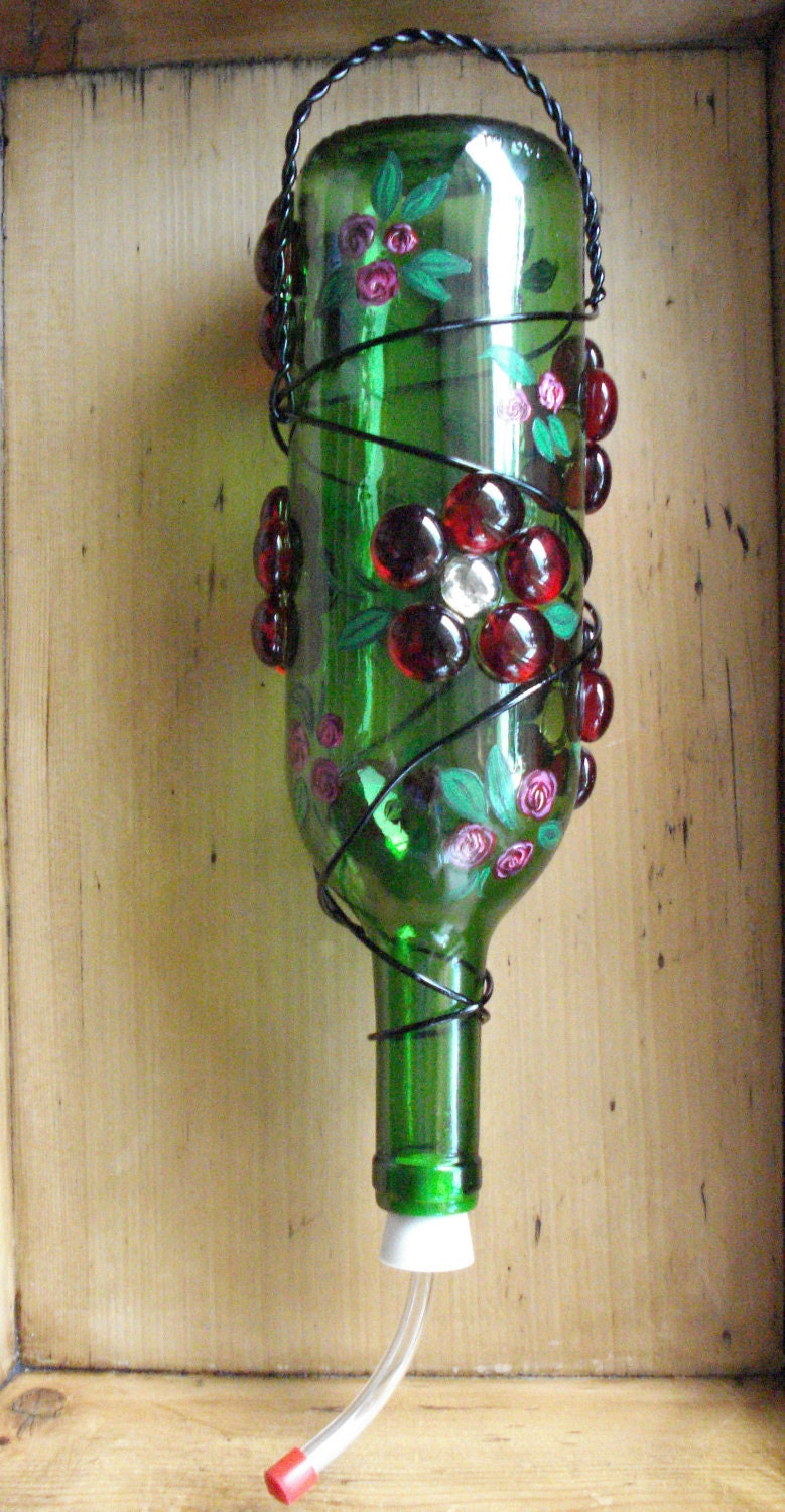 Wine Bottle Hummingbird Feeder With Handpainted Accents Free