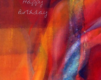 Dance of Colors Birthday Card - Abstract, abstract painting, abstract birthday card, bairthday card