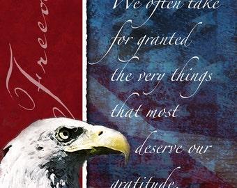 Freedom Patriotic Poster - Patriotic, America, United States, Freedom, Bald Eagle, American Flag