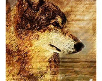 ABSTRACT RUSTIC WOLF - fine art painting, elk, bull elk, rustic, painting, wall decor, home decor, office decor