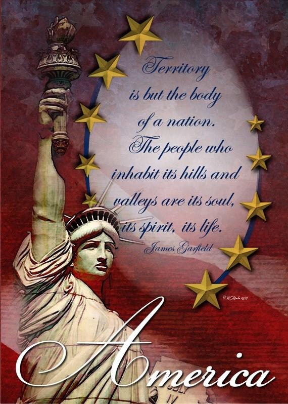 Liberty in America - Patriotic greeting card, United States, America, Statue of Liberty, U.S. Flag