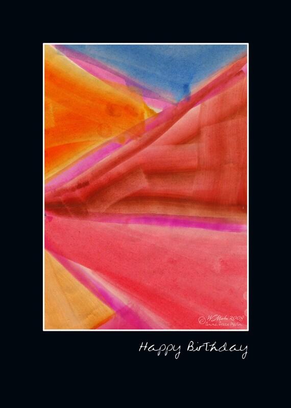 Watgercolor Angles BIrthday Card -  abstract, watercolor art, painting, birthday card, happy birthday