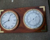 Vintage Verichron Wood and Brass Clock and Thermometer