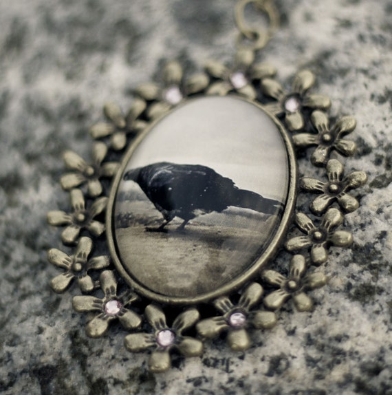 Pigeon, Empire State Building, NY - Vintage Photo Necklace w/ Swarovski Elements