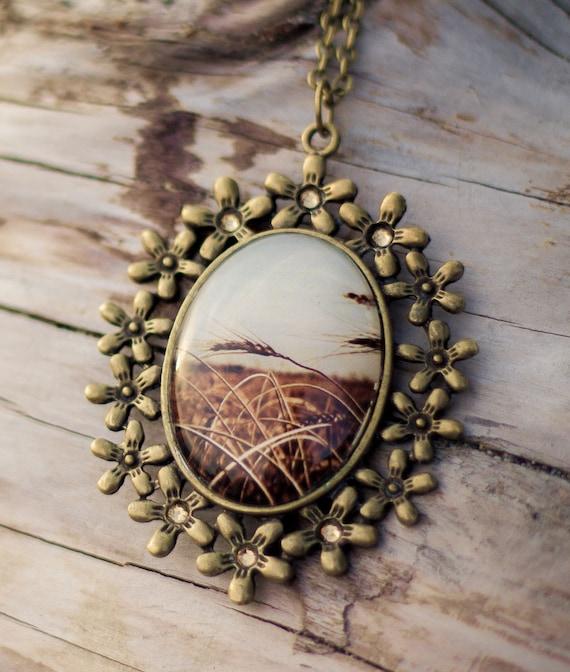 Saskatchewan Wheat - Photo Necklace w/ Swarovski Elements