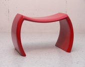 IDEA Bench, Red, Handcrafted, Laminated Sculpted Wood, Contemporary, Modern Art, Sculptural Furniture, Stool, ART,Studio Design, Mid-Century