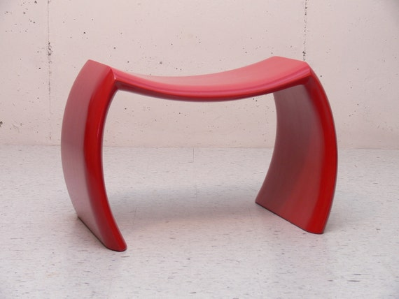IDEA BENCH: Red,Handcrafted,Wood Bench,Contemporary,Modern,Art,Sculpture,Furniture,Stool,Art,Designer,Mid-Century,Accent,Seating