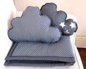 Plaid et coussins nuage gris étoiles - Blanket and Pillows grey with white stars