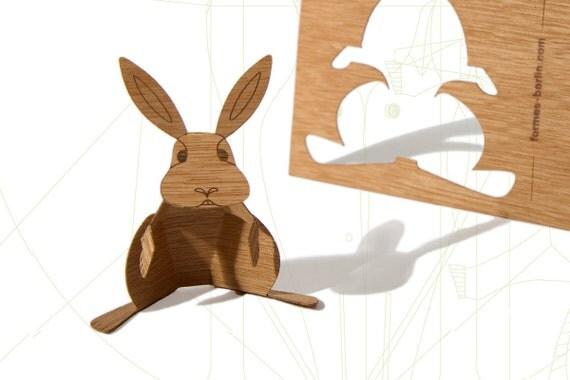 postcard wood - 3 bunnycards