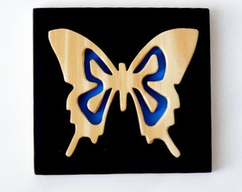 Butterfly with Blue, wooden wall plaque