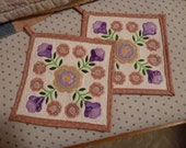 Wedding Roses Applique Quilted Pot Holders