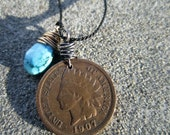 Indian head penny and turquoise necklace