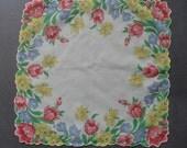 Vintage Sheer Hankie with Spring Flowers