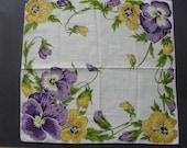 Vintage Cotton Hankie with Purple/Yellow Pansies