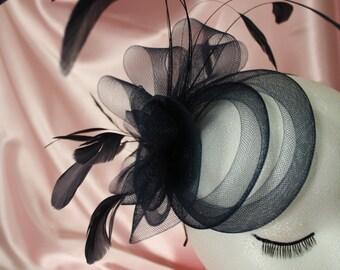 Crinoline & Feather Fascinator - Red or black