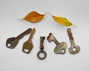 Vintage keys, set of 5 Old Keys for Jewelry Making, Altered Art, Collage from USSR