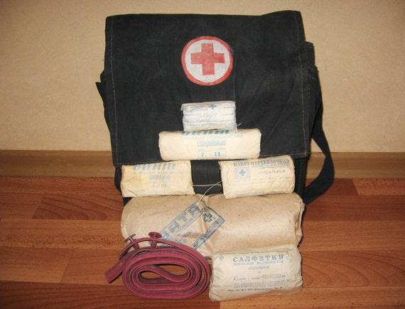 Vintage military-medical field bag, black Soviet  military field bag, Russian medicine chest