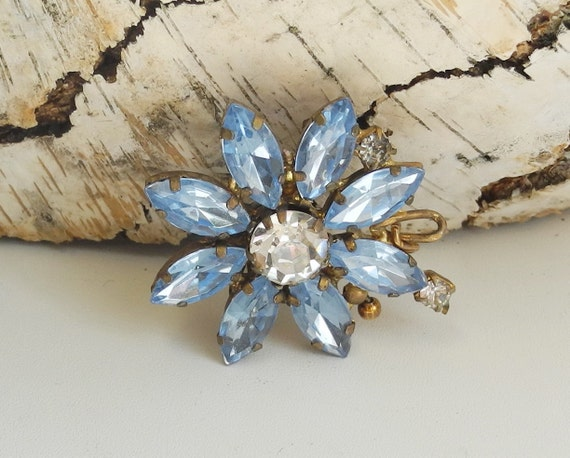 Vintage brooch pin,  blue stone flower, costume jewelry from USSR