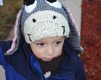 Thanks for noticing me - Crocheted Eeyore-Inspired Hat for Child (or any Eeyore Fan)