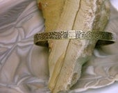 Brass Cuff Bracelet, Flower and Leaves Pattern