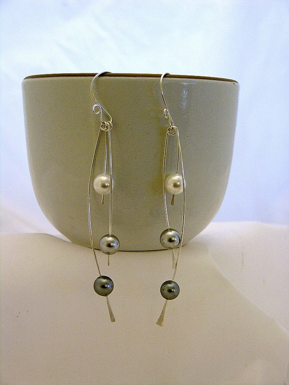 Shell Pearls and Sterling Silver Shoulder Duster Earrings
